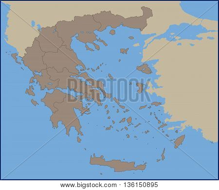 Illustration of a Empty Political Map of Greece