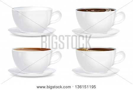 collection cups on white background. vector illustration.