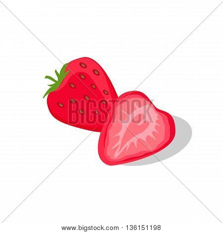 One delicious and juicy red stawberry isolated on white background. Vector illustration