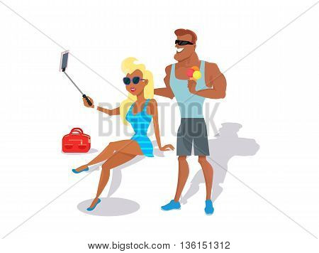 People relax in the summer isolated on white background. Cute girl in black glasses makes selfie. Man eating ice cream. Summer person young and happy relax isolated. Vector illustration