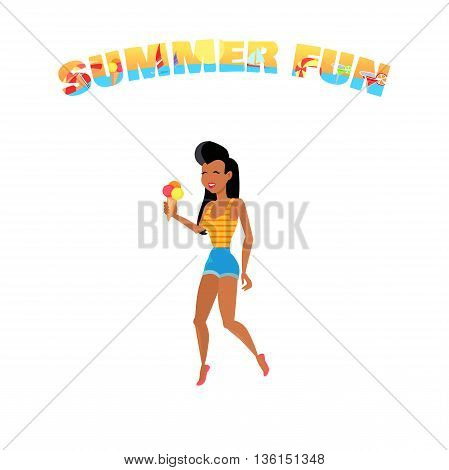 People relax in the summer isolated on white background. Woman eating ice cream. Summer person young and happy relax isolated. Vector illustration
