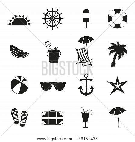 Summer icons. Summer black icons on white background. Vector illustration.