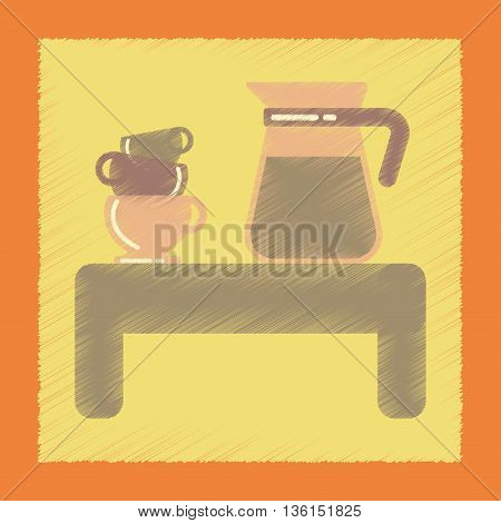 flat shading style icon coffee cup of coffee table