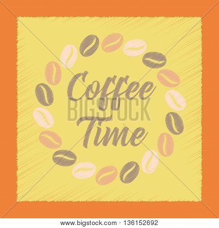 flat shading style icon bean Coffee time logo