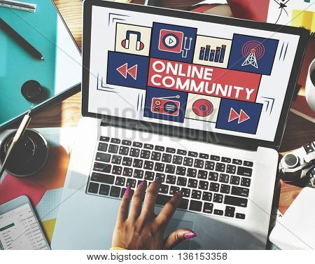 Online Community Connection Society Social Concept