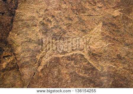 Petroglyphs on the stone in Tamgaly Kazakhstan