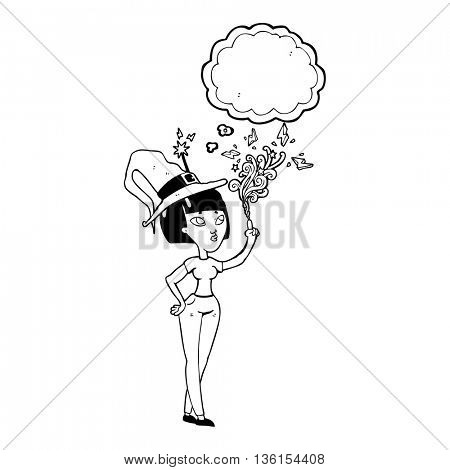 freehand drawn thought bubble cartoon witch casting spell