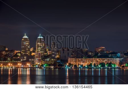 Quay of the big city at night the river Dnepr Dnepropetrovsk