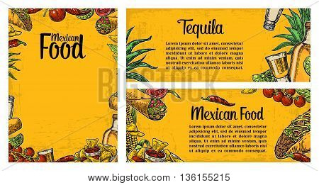 Mexican traditional food restaurant menu template with traditional spicy dish. burrito tacos tomato nachos tequila lime. Vector vintage engraved illustration on yellow background. For poster web