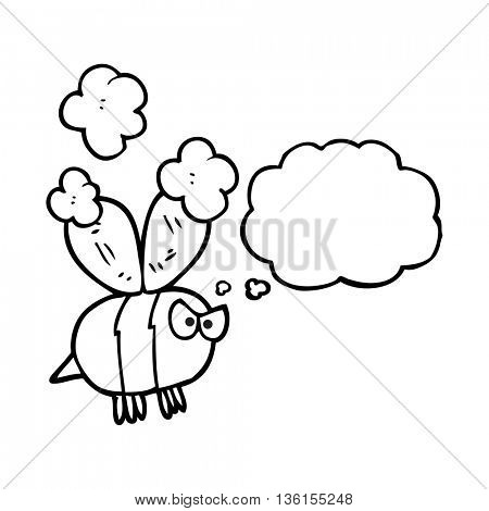 freehand drawn thought bubble cartoon angry bee