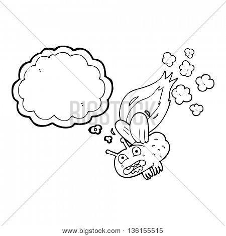 freehand drawn thought bubble cartoon fly crashign and burning