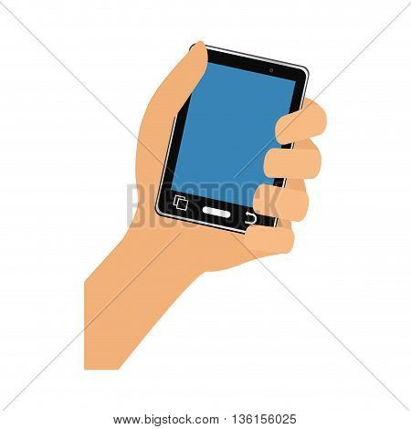 Gadget and technology concept represented by hand holding smartphone icon. isolated and flat illustration