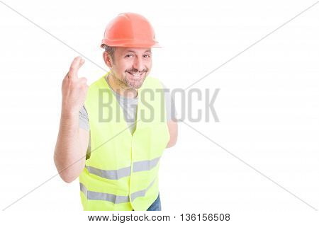 Constructor Holding Fingers Crossed Hoping For Something Good