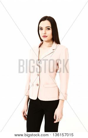 woman with straight hair style in pink official jacket close up portrait isolated on white
