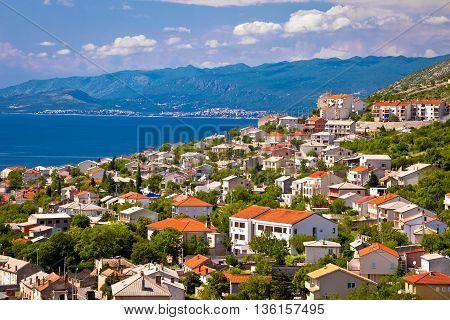 Town of Senj and Novi Vinodolski view Velebit channel coastline Croatia