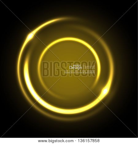 Abstract background with luminous swirling backdrop. Intersection curves. Glowing spiral. The energy flow tunnel. Vector. yellow, gold