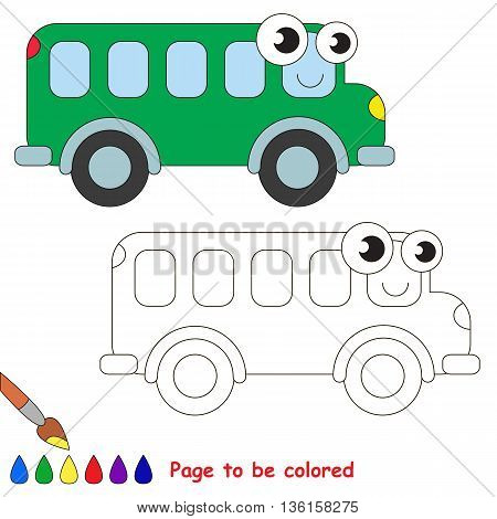 Green bus to be colored. Coloring book to educate kids. Learn colors. Visual educational game. Easy kid gaming and primary education. Simple level of difficulty. Coloring pages.