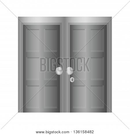 Home concept represented by grey door icon. isolated and flat illustration
