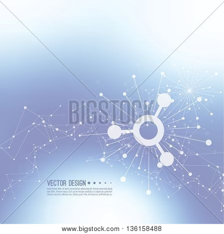 Array with dynamic emitted particles. Node molecule structure. Science and connection concept. Techno Research, brain cells, neurons. Vector abstract background. Framework backdrop