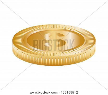 Money concept represented by coin icon. isolated and flat illustration