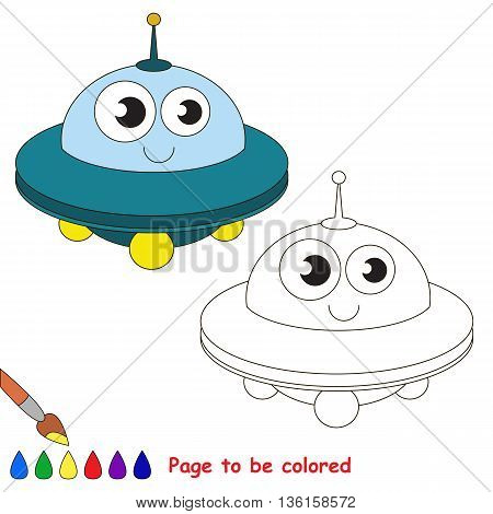 Blue UFO to be colored. Coloring book to educate kids. Learn colors. Visual educational game. Easy kid gaming and primary education. Simple level of difficulty. Coloring pages.