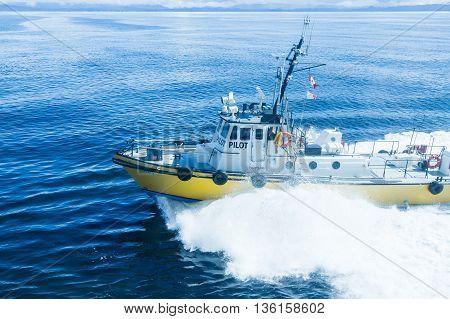 A yellow pilot boat cutting through deep blue water