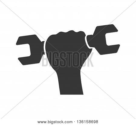 Under construction concept represented by wrench and hand icon. isolated and flat illustration