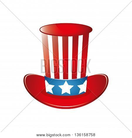 USA concept represented by striped hat icon. isolated and flat illustration