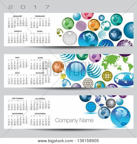 Exciting and colorful globe calendar for 2017