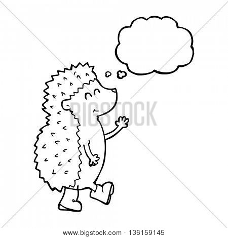 cute freehand drawn thought bubble cartoon hedgehog