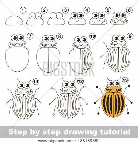 Drawing tutorial for children. Easy educational kid game. Simple level of difficulty. Kid education and gaming. How to draw The colorado bug.
