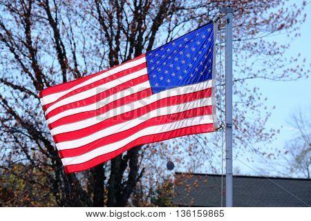 American flag at suburban neighborhood