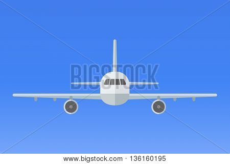 Airplane on blue background. Plane flying in the sky. Front view. Aircraft flat style vector illustration.