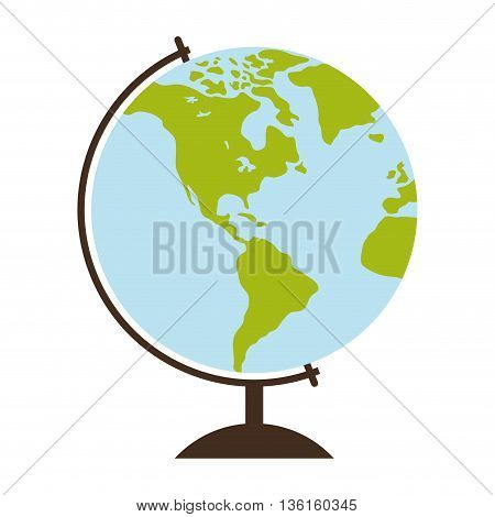 School and education concept represented by sphere pf planet icon. isolated and flat illustration