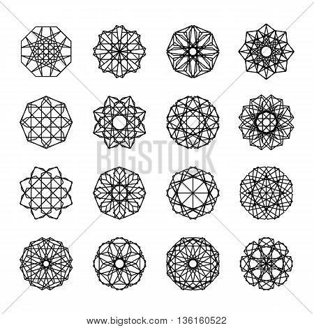Isolated geometric ornaments set. Vector linear editable symbols