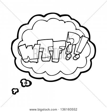 freehand drawn thought bubble cartoon WTF symbol