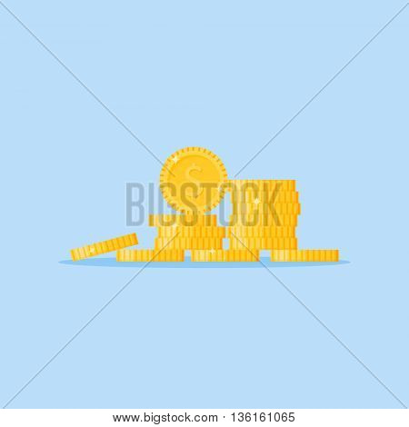Gold coins stack isolated on blue background. Stacked pile of money. Flat style vector illustration.