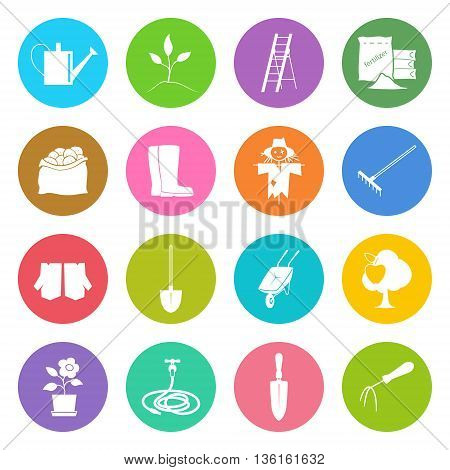 Set of Garden Tools, Round Bright Multicolored Icons Gardening Equipment, Agricultural Tool ,Vector Illustration