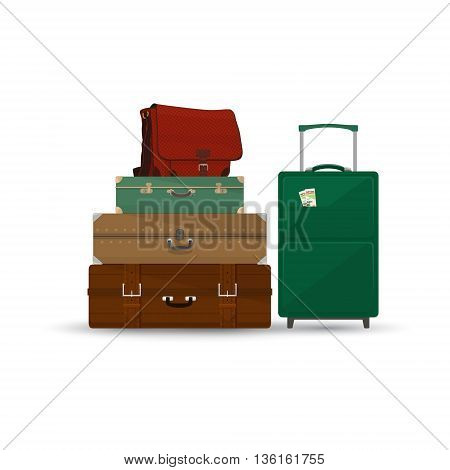 Retro Colored Suitcases and Trolley Suitcase and Travel Bag Isolated on White Background, a Luggage Bags for Traveling, Travel and Tourism Concept ,Vector Illustration