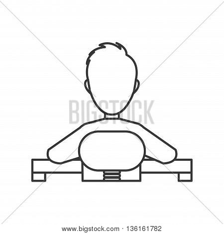 Businesspeople concept represented by avatar man on desk icon. isolated and flat illustration