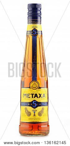 POZNAN POLAND - JUNE 23 2016: Metaxa a Greek liqueur based on brandy blended with wine and flavorings. Owned by Remy Cointreau group it is exported to over 65 countries.