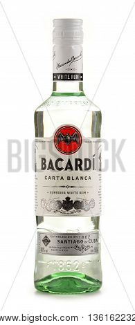 POZNAN POLAND - JUNE 23 2016: Bacardi white rum is a product of Bacardi Limited the largest privately held family-owned spirits company in the world headquartered in Hamilton Bermuda.