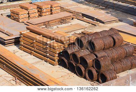 Metal pipe stack on warehouse, industrial, metallic