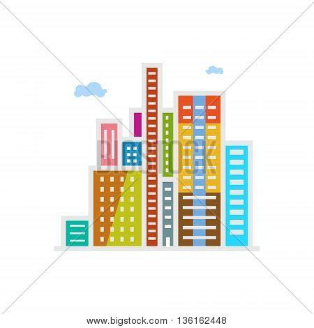 Modern Buildings, Business Center Isolated on White Background, Vector Illustration