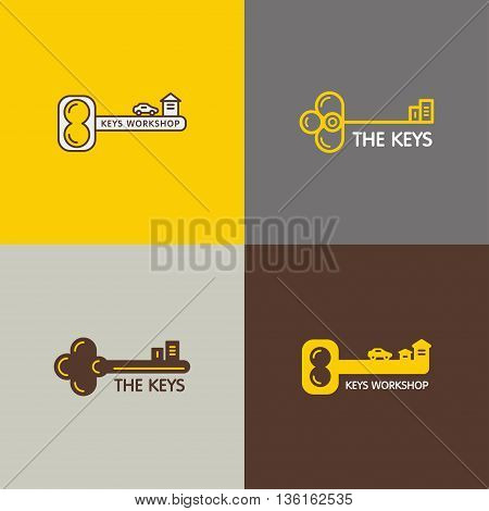 Set of vector logos with the image of keys and silhouettes of houses and cars. It can be used for a real estate agency, workshop for the production of keys. Made in trendy line style.