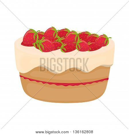 Dessert and celebration concept represented by sweet cake with strawberrys icon. isolated and flat illustration
