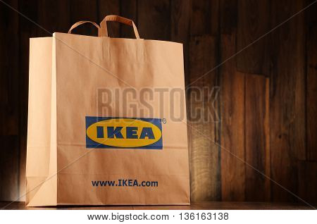POZNAN POLAND - JUNE 22 2016: Founded in Sweden in 1943 IKEA is world's largest furniture retailer operates 384 stores in 48 countries it is selling about 12000 products