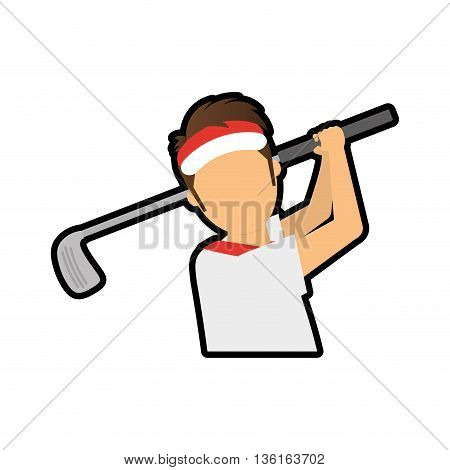 Golf Sport concept represented by boy cartoon icon. isolated and flat illustration