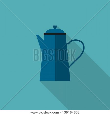 Coffee pot icon. Flat illustration of coffee pot with long shadow