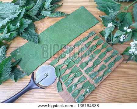 Nettles green farfalle pasta cooking food from weed